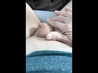 Old man expose and play with his useless dick in car