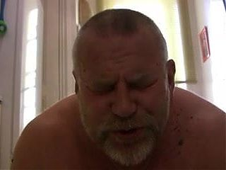 Sexy chubby daddy takes huge dildo up ass