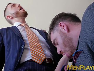 Hunky bearded guy rimmed and barebacked by colleague