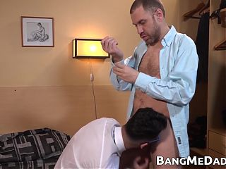 Young man rimmed by daddy before having his ass railed raw