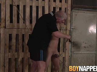 Older guy whips his young submissive cute man for punishment