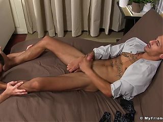 Inked Latino yuppie Rico Romero enjoys his feet being licked