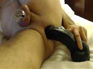 Wet Pussy and black dildo