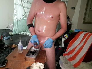 Oil Wax sounding jerkoff session